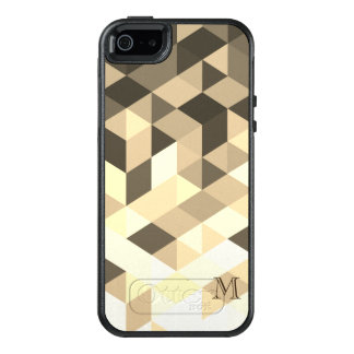 Monogrammed Dark Brown And Sepia Geometric Shapes OtterBox iPhone 5/5s/SE Case