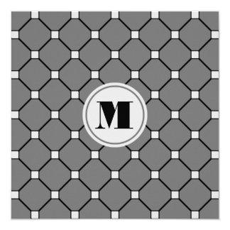 Monogrammed Dark Gray Diamond Invitation
