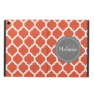 Monogrammed Dark Orange & Grey Quatrefoil iPad Air Case