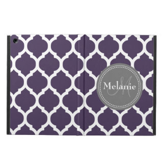 Monogrammed Dark Purple & Grey Quatrefoil Case For iPad Air
