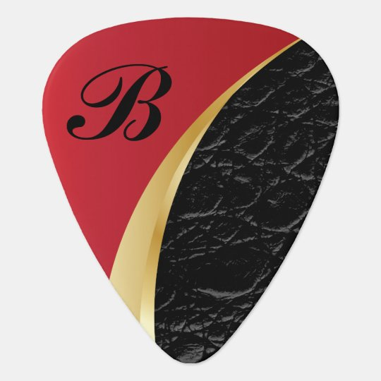 Monogrammed Deep Red Gold and Black Leather Plectrum