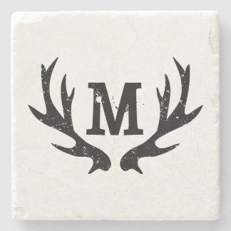 Monogrammed deer antlers marble stone coasters