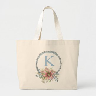 Monogrammed Delicate Floral Watercolor Large Tote Bag
