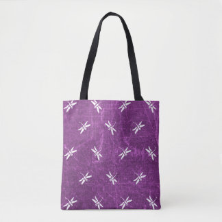 Monogrammed Dragonfly Purple and White Tote Bag