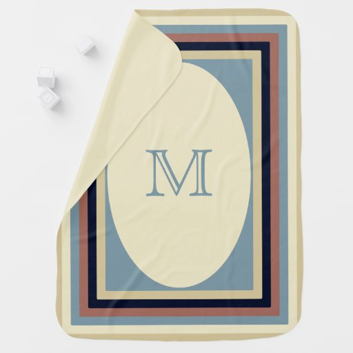 Monogrammed Earth Tones and Blues Baby Blanket