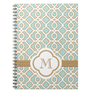 Monogrammed Eggshell Blue and Gold Moroccan Notebooks