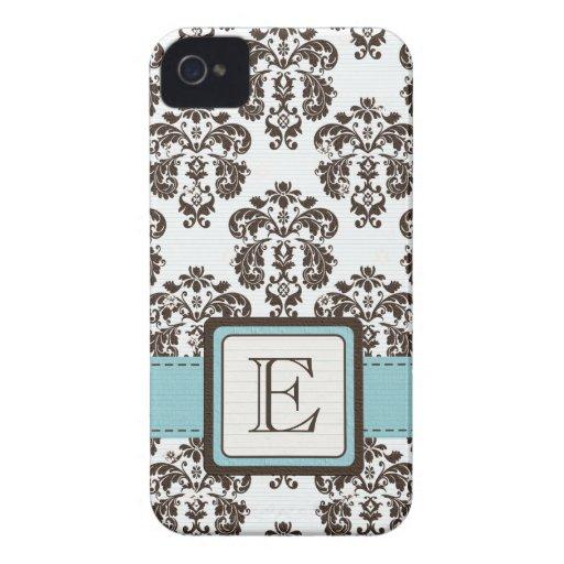Monogrammed Eggshell Blue Brown Damask Blackberry Blackberry Cases