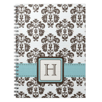 Monogrammed Eggshell Blue Brown Damask Spiral Note Notebooks