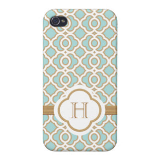 Monogrammed Eggshell Blue Gold Moroccan iPhone 4 Cases