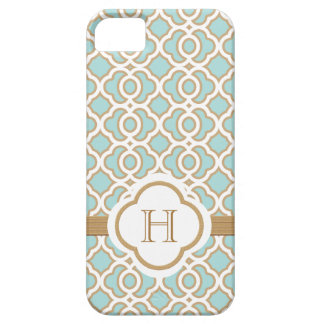 Monogrammed Eggshell Blue Gold Moroccan iPhone 5 Cases