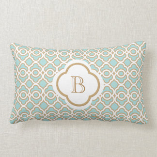 Monogrammed Eggshell Blue Gold Moroccan Lumbar Cushion