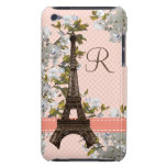 Monogrammed Eiffel Tower Damask iPod Touch 4 Case Barely There iPod Case
