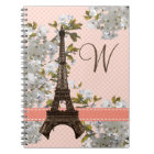 Monogrammed Eiffel Tower Spiral Notebook Journal