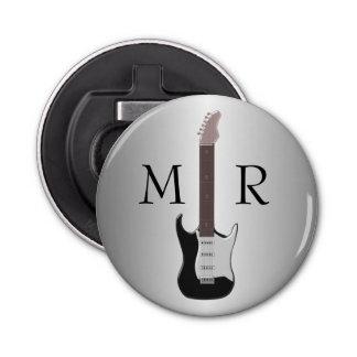 Monogrammed Electric Guitar Button Bottle Opener