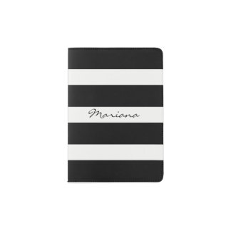Monogrammed Elegant Black White Stripes Passport Holder
