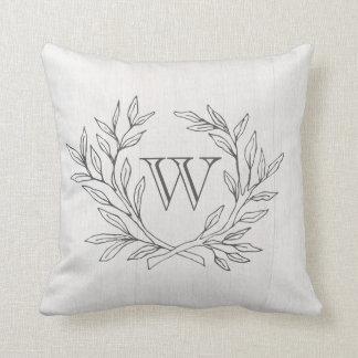 Monogrammed Elegant Branch Wreath Accent Pillow