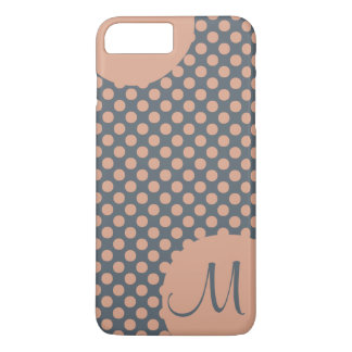 Monogrammed Elegant Peach Pink Polka Dot iPhone 8 Plus/7 Plus Case