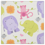 Monogrammed Fabric | Jungle Animals for Girl