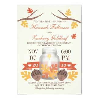 Monogrammed Fall Leaf Mason Jar Wedding 13 Cm X 18 Cm Invitation Card