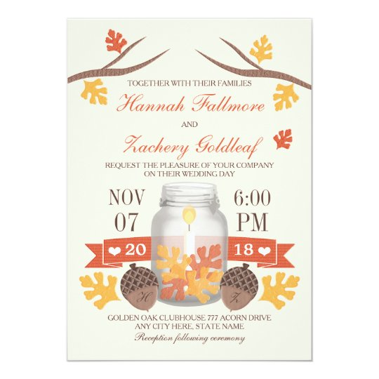 Monogrammed Fall Leaf Mason Jar Wedding Card