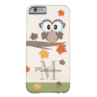 Monogrammed Fall Owl Barely There iPhone 6 Case
