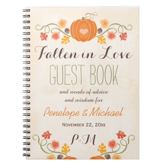 Monogrammed Fall Pumpkin Acorn Wedding Guest Boook Notebooks