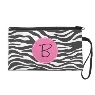 Monogrammed Fancy Zebra Print and Pink Label Wristlet Purses
