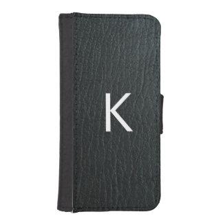 Monogrammed Faux Black Leather Texture iPhone SE/5/5s Wallet Case
