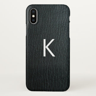 Monogrammed Faux Black Leather Texture iPhone X Case