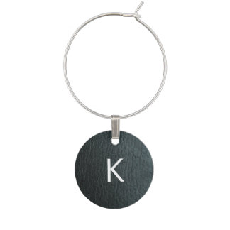 Monogrammed Faux Black Leather Texture Wine Charm