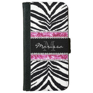 Monogrammed Faux Glitter Bling Rhinestone Girl's iPhone 6 Wallet Case