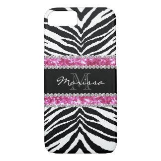 Monogrammed Faux Glitter Bling Rhinestone Girl's iPhone 7 Case