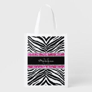 Monogrammed Faux Glitter Bling Rhinestone Girl's Reusable Grocery Bags