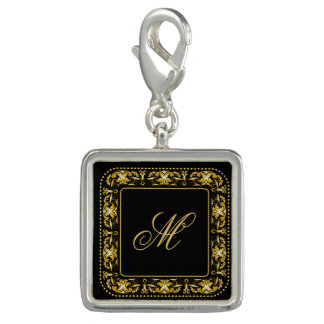 Monogrammed Faux Gold Filigree Frame & Initial