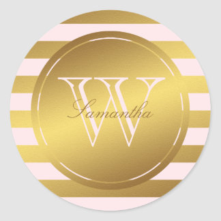 Monogrammed Faux Gold Foil Stripes Round Stickers