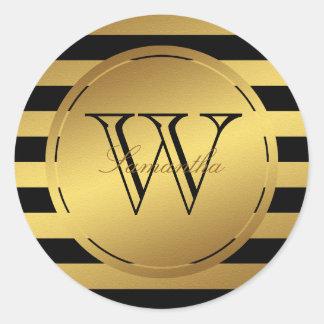 Monogrammed Faux Gold Foil Stripes Round Sticker