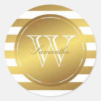 Monogrammed Faux Gold Foil Stripes Sticker