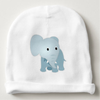 Monogrammed Faux Quilted Blue Elephant Baby Beanie