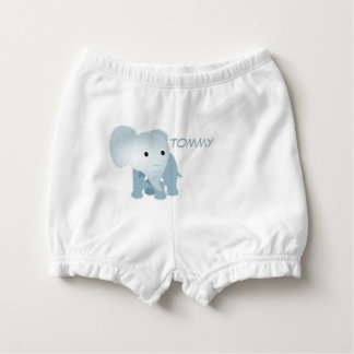 Monogrammed Faux Quilted Blue Elephant Nappy Cover