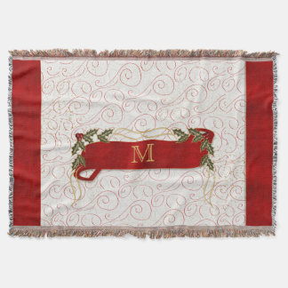 Monogrammed Festive Red with Boughs of Holly