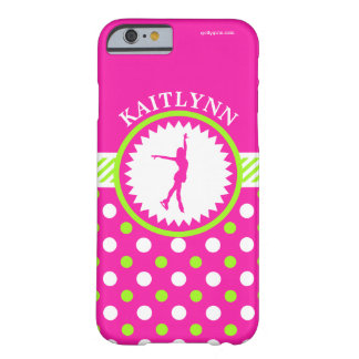 Monogrammed Figure Skater Pink - Green Polka-Dots Barely There iPhone 6 Case