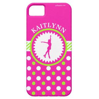 Monogrammed Figure Skater Pink - Green Polka-Dots iPhone 5 Case