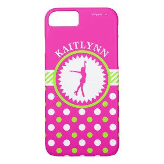 Monogrammed Figure Skater Pink - Green Polka-Dots iPhone 7 Case