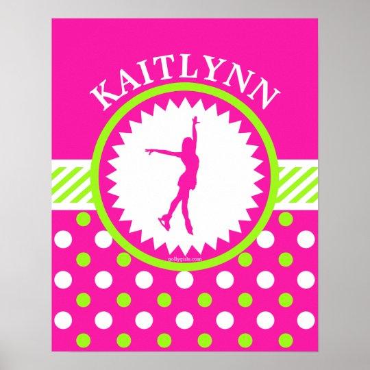Monogrammed Figure Skater Pink - Green Polka-Dots Poster