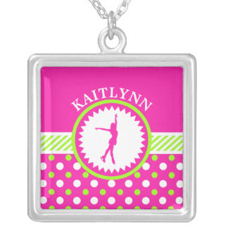 Monogrammed Figure Skater Pink - Green Polka-Dots Silver Plated Necklace