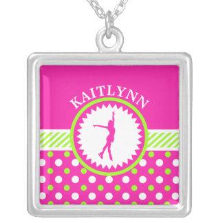 Monogrammed Figure Skater Pink - Green Polka-Dots Square Pendant Necklace