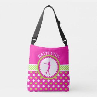 Monogrammed Figure Skater Pink Green Polka-Dots Tote Bag