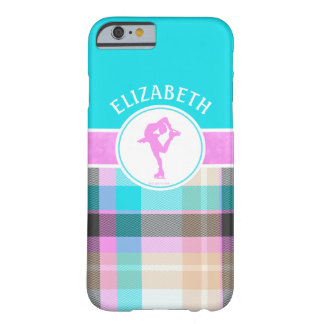 Monogrammed Figure Skater Summer Tartan Barely There iPhone 6 Case