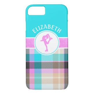 Monogrammed Figure Skater Summer Tartan iPhone 7 Case
