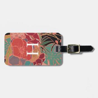 Monogrammed Floral Bohemian Vintage Luggage Tag